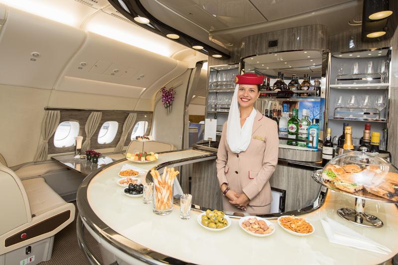 A380 first class cabin bar