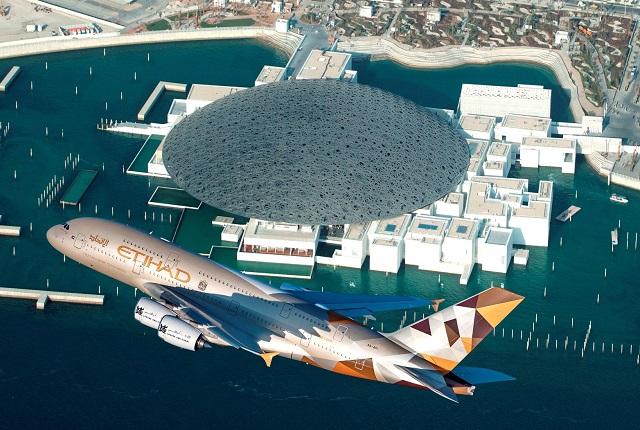 ETIHAD AIRWAYS A380 LOUVRE ABU DHABI FLY-BY