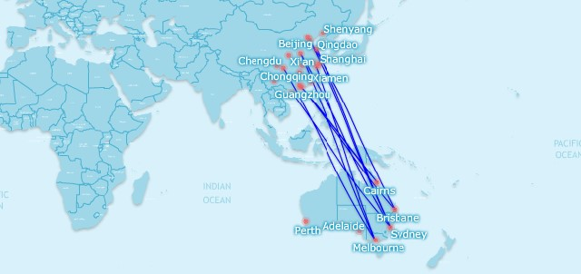 China Australia new routes
