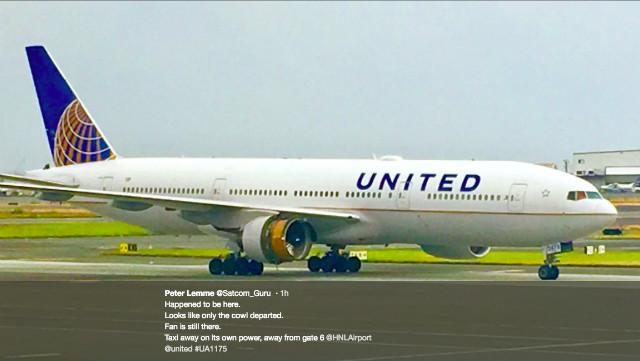 UA 777 cowling tweet