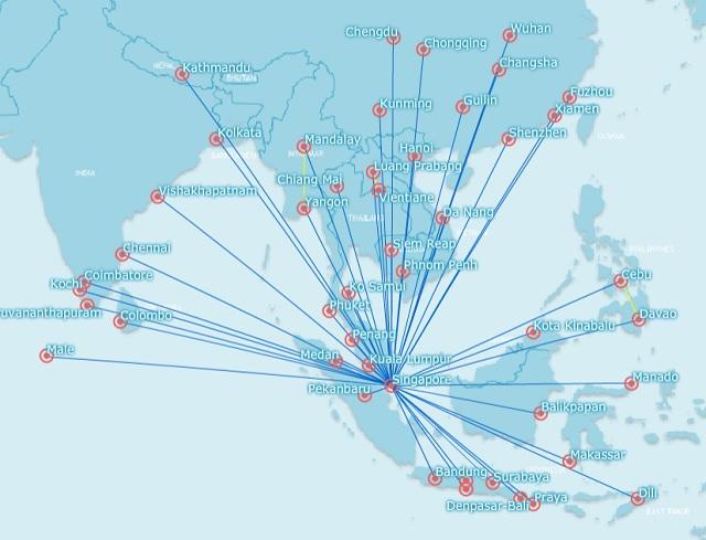 Silkair Route Network