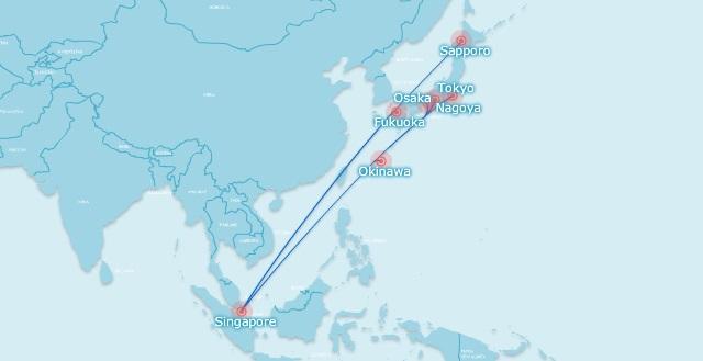 Singapore Japan routes June 2018