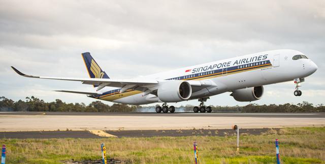 SIA A350 landing
