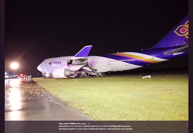 Thai Airways 747 excursion - Image by twitter kong
