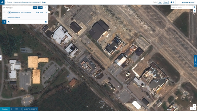 Tyndall Air Force Base damage satellite image