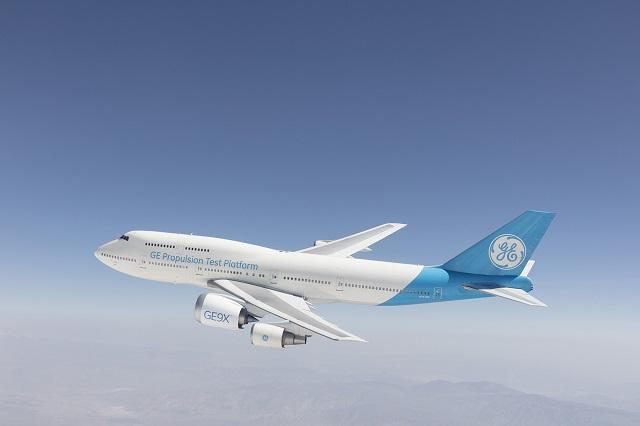 GE9X airborne testing 747-400. GE 640px