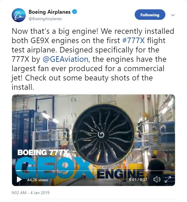 Boeing 777X GE9X video 640px