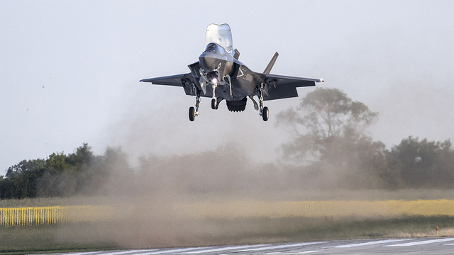 F-35B landing vertically