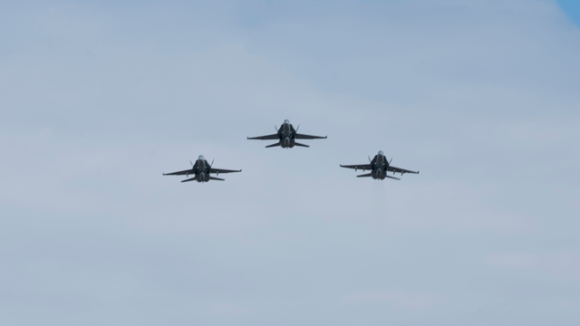 US Navy F/A-18 Hornet retirement flyover ceremony