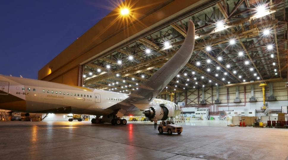 Etihad Airways Engineering hangar with 787