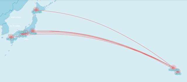 Japan Hawaii routes