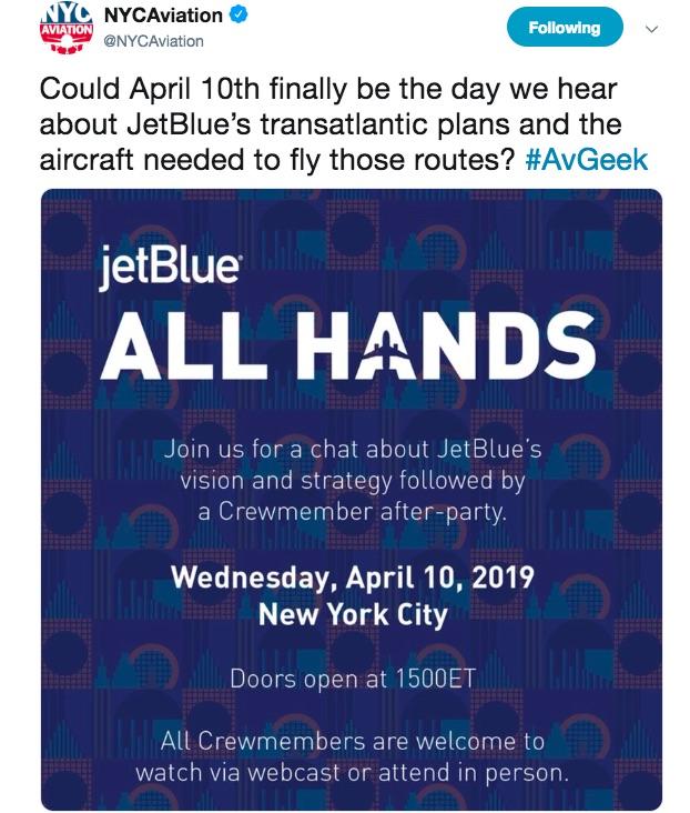 JetBlue Tube London tweet