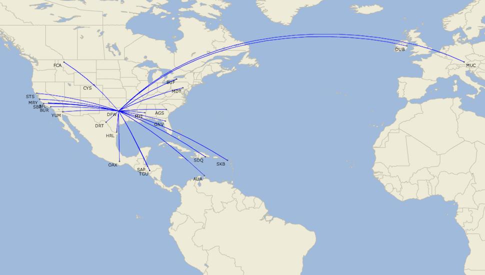 American DFW 900 routes
