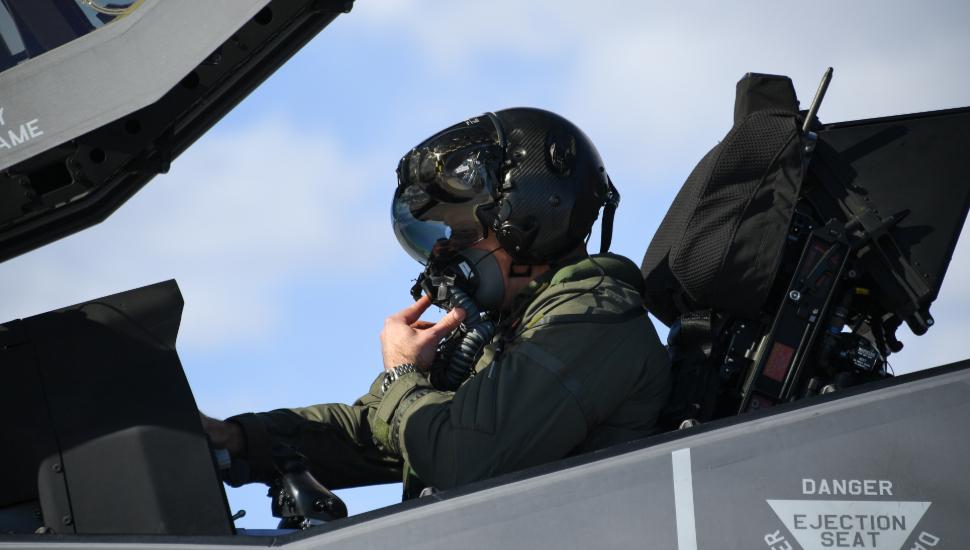 Lockheed Martin F-35A Lightning II pilot in cockpi