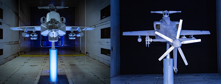 Boeing Compound AH-64 Apache model in wind tunnel