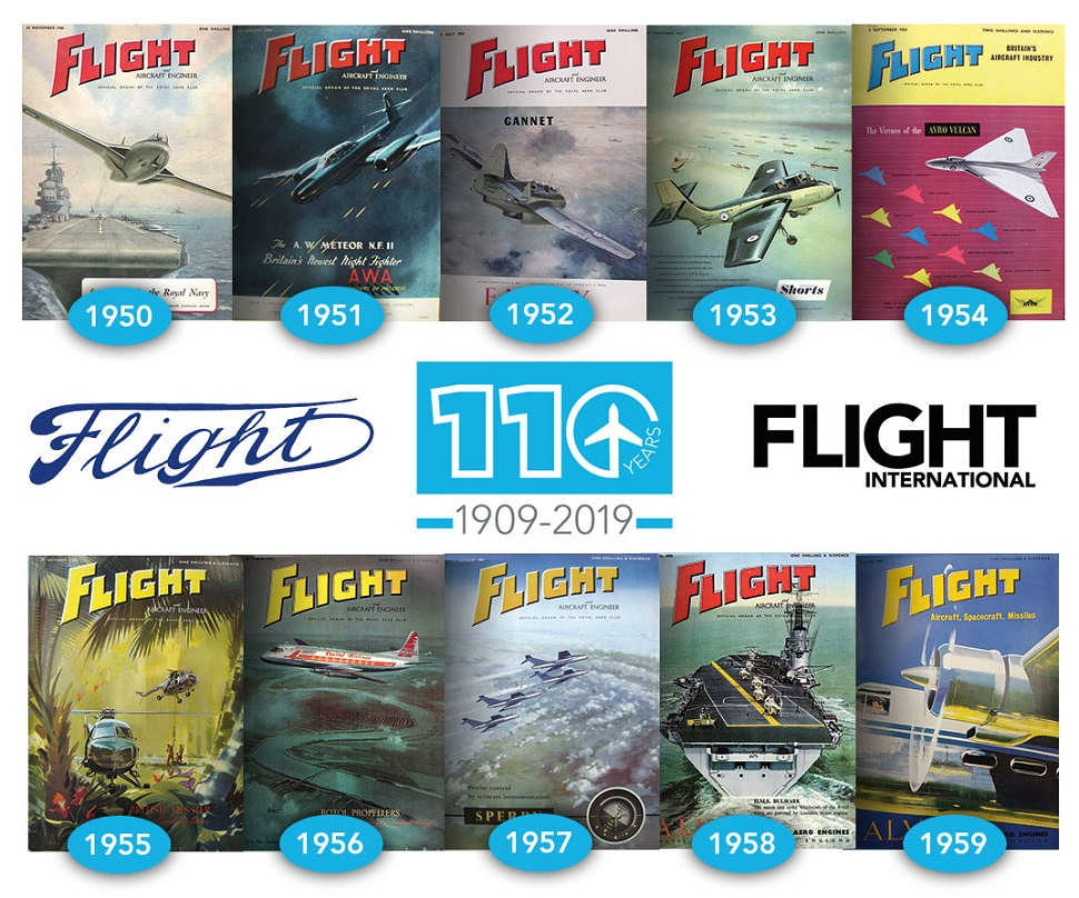 collage 1950s flight covers
