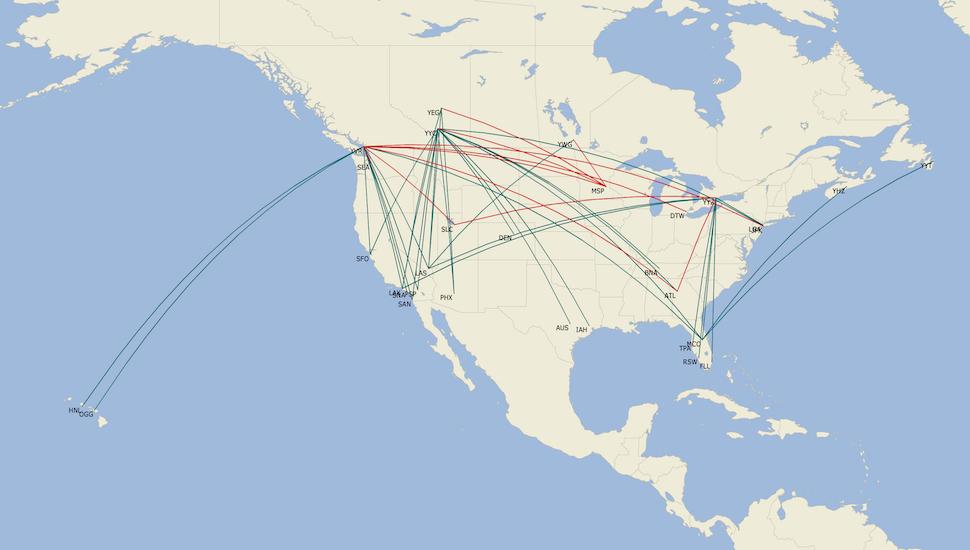 Delta WestJet transborder network map