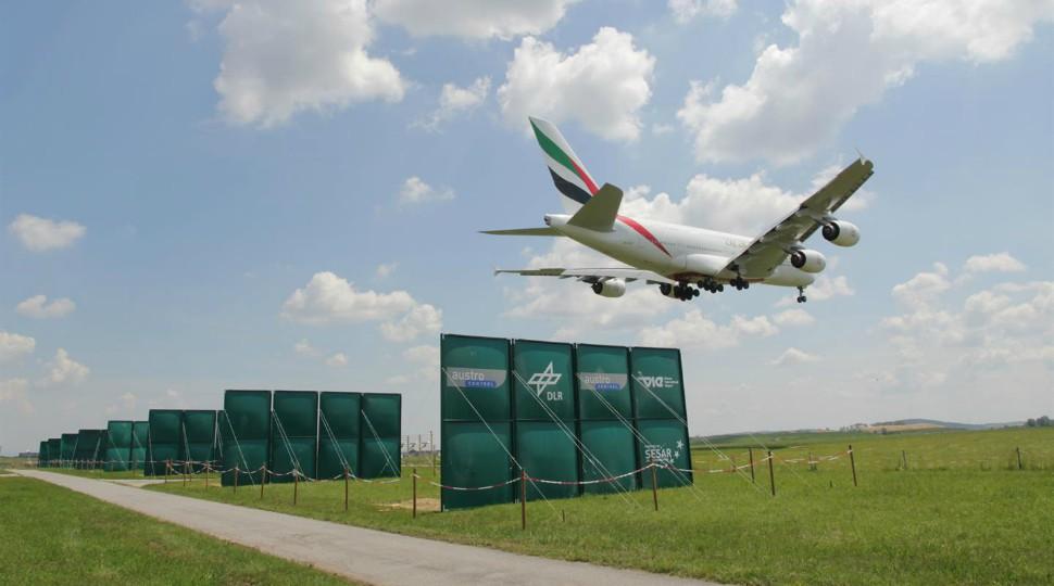 DLR Vienna airport wake vortice reduction panels