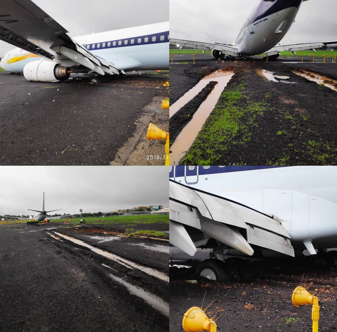 SpiceJet 737 suffers runway excursion in rainy Mum