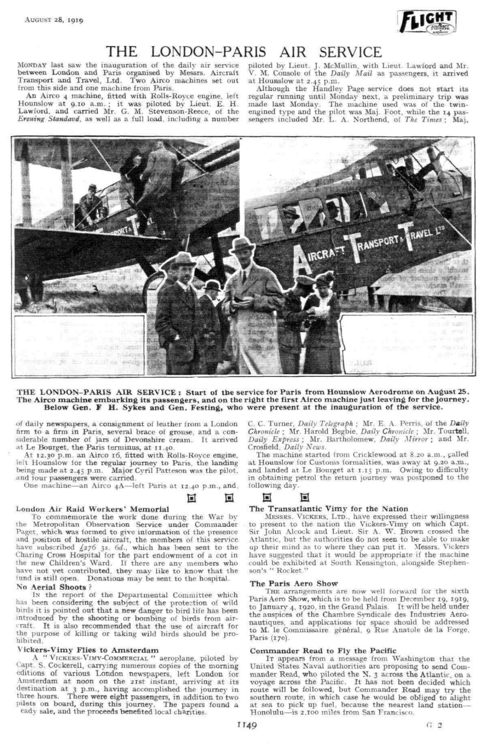 flight-1919 first service