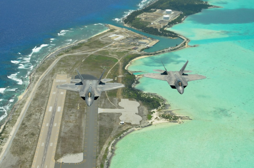 F-22 Raptors fly over Wake Island 2- Credit USAF